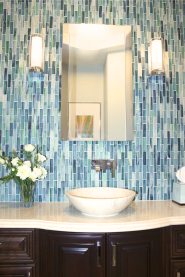 Bath design by Karen Herrick Design in San Jose featuring Tozen in Erbium Silk.