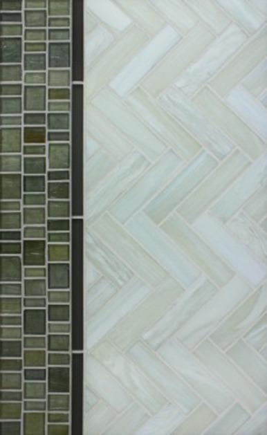 Shibui 1 x 4 Herringbone Bleached White Natural; Tomei Flat Bar Donnington Green; Haisen Barcode Argent Natural.