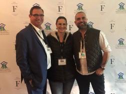 Richard van Gilse, president, Facings of America; Emily Marris, Southwest regional sales manager, Lunada Bay Tile; and Feras Irikat, director of design and marketing, Lunada Bay Tile